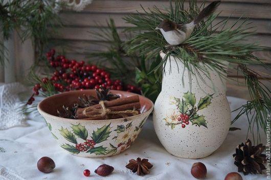 """Кухня ручной работы. Ярмарка Мастеров - ручная работа. Купить """"Зимние букеты""""-Набор керамической посуды. Handmade. Белый, салатник"""
