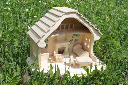 Кукольный дом ручной работы. Ярмарка Мастеров - ручная работа. Купить Домик с камином.. Handmade. Бежевый, детская игрушка