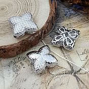 Материалы для творчества handmade. Livemaster - original item Flower bead 16x17x6 mm platinum (4009). Handmade.