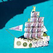 Цветы и флористика ручной работы. Ярмарка Мастеров - ручная работа Корабль из конфет денежный. Handmade.