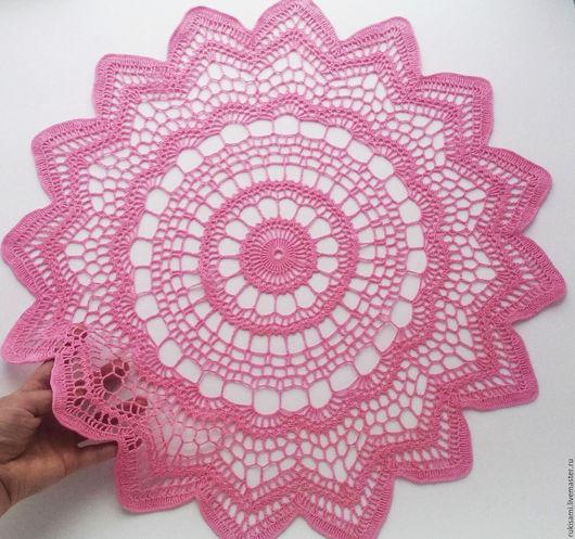 """Текстиль, ковры ручной работы. Ярмарка Мастеров - ручная работа. Купить Большая салфетка вязаная крючком """"Розовая звезда"""". Handmade."""