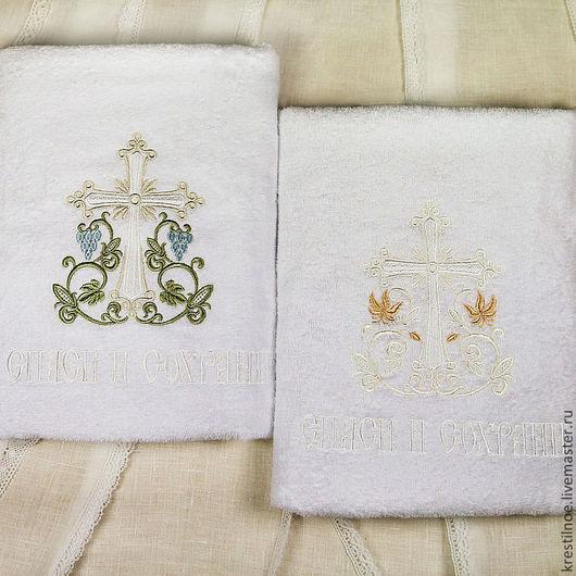Крестильные принадлежности ручной работы. Ярмарка Мастеров - ручная работа. Купить Крестильное полотенце Процветший крест. Handmade. Крестильное полотенце