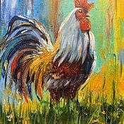 Картины и панно handmade. Livemaster - original item Cock oil painting. Picture with cock.. Handmade.
