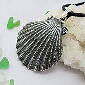 Подвеска ручной работы. Ярмарка Мастеров - ручная работа Подвески: ракушка морской гребешок из серебра. Handmade.