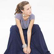 Одежда ручной работы. Ярмарка Мастеров - ручная работа Длинная синяя юбка в пол, юбка из шерсти, юбка-пачка из марлевки. Handmade.