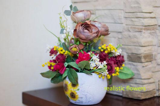 Цветы ручной работы. Ярмарка Мастеров - ручная работа. Купить цветочная композиция. Handmade. Ярко-красный, мимоза, сирень из глины