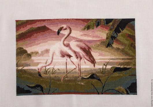 Животные ручной работы. Ярмарка Мастеров - ручная работа. Купить Розовые фламинго. Handmade. Вышивка крестом, картина, розовые фламинго