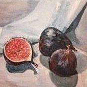 """Картины и панно ручной работы. Ярмарка Мастеров - ручная работа картина, """"Инжир"""", масло, натюрморт. Handmade."""