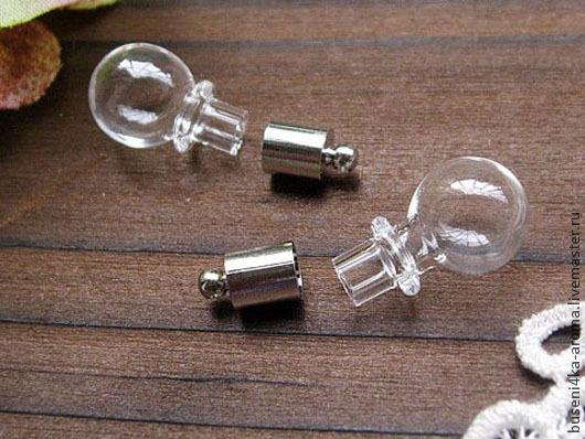 Для украшений ручной работы. Ярмарка Мастеров - ручная работа. Купить Бутылочка-подвеска Лампочка №2 (1шт). Handmade.