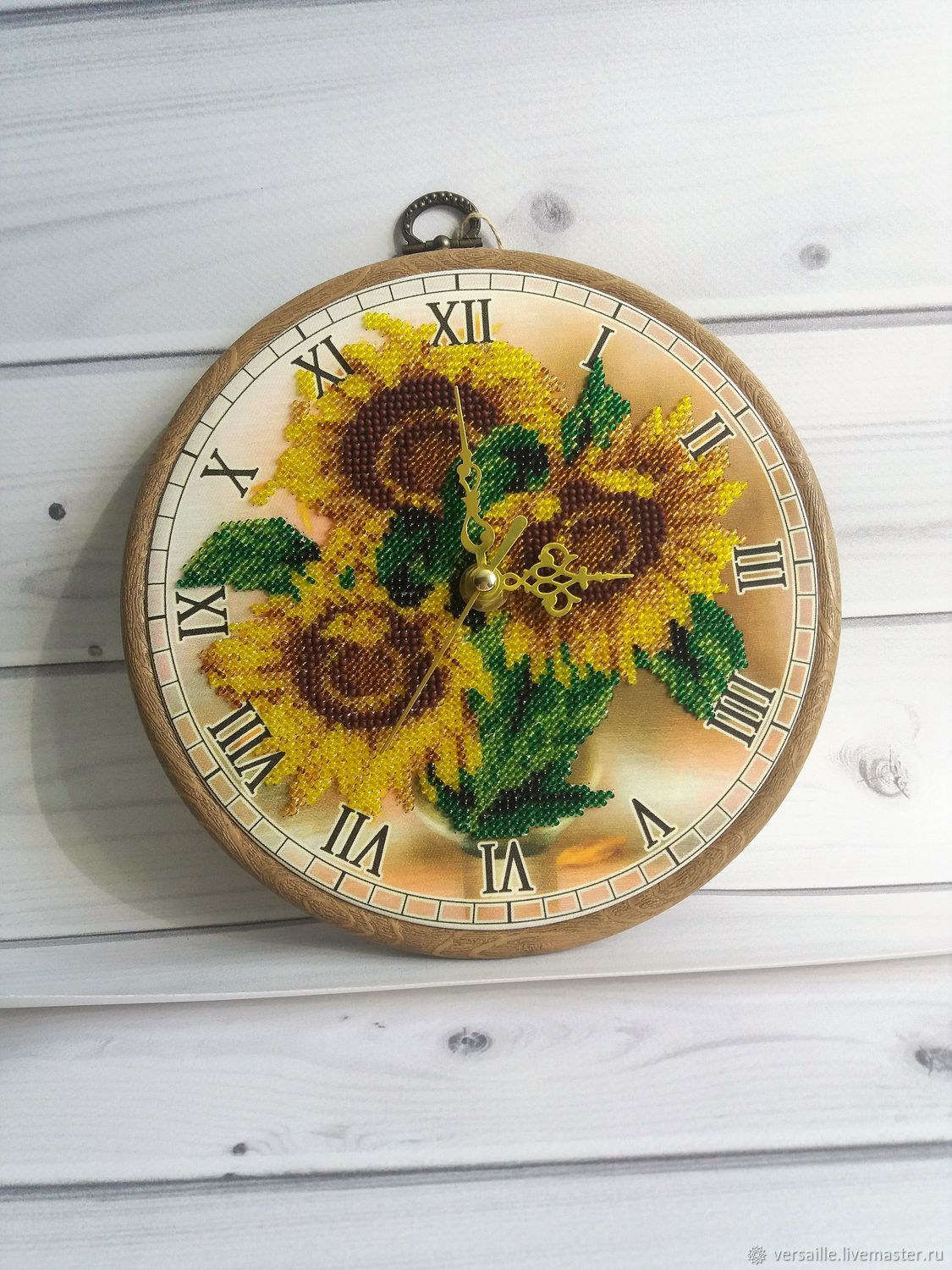 """Wall clock, watch, embroidered, beaded watch """"Sunflowers"""", Watch, St. Petersburg,  Фото №1"""