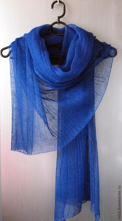 Шали, палантины ручной работы. Ярмарка Мастеров - ручная работа. Купить Шарф льняной синий (72см x 200см). Handmade.