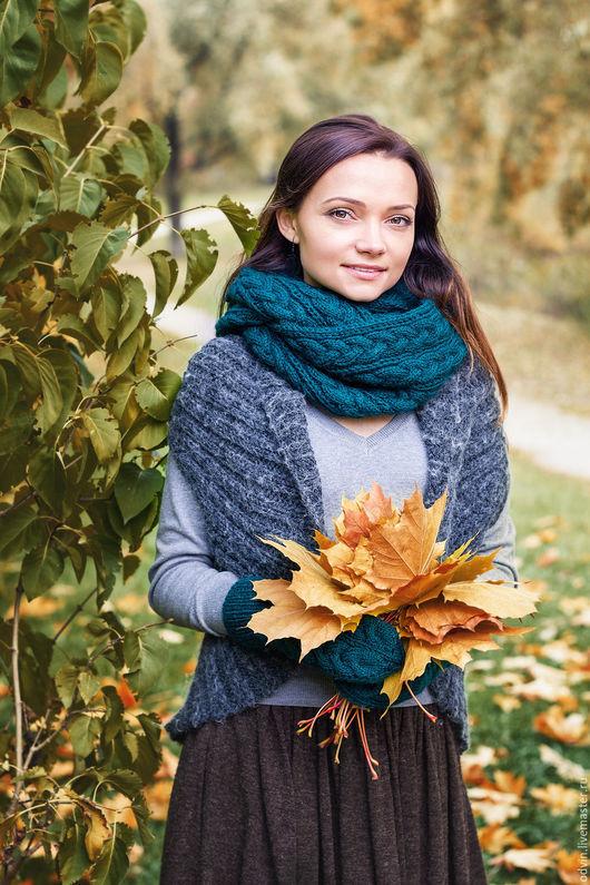 комплект вязаный, комплект шарф и варежки, шарф вязаный женский, варежки вязаные женские, снуд вязаный женский, снуд в два оборота, круговой шарф, варежки вязаные, снуд и варежки, снуд вязаный, снуд,