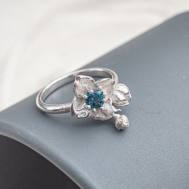Decorations handmade. Livemaster - original item Silver thin ring with Topaz London