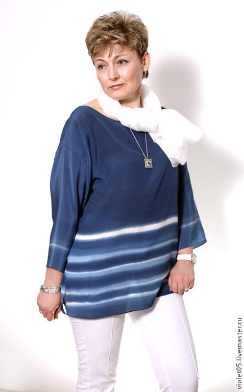 Блузки ручной работы. Ярмарка Мастеров - ручная работа. Купить Шелковая блузка Морена. Handmade. Шарф, палантин батик, мак