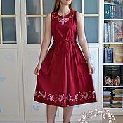Одежда handmade. Livemaster - original item Linen dress-Bright summer, with the author`s painting. Handmade.