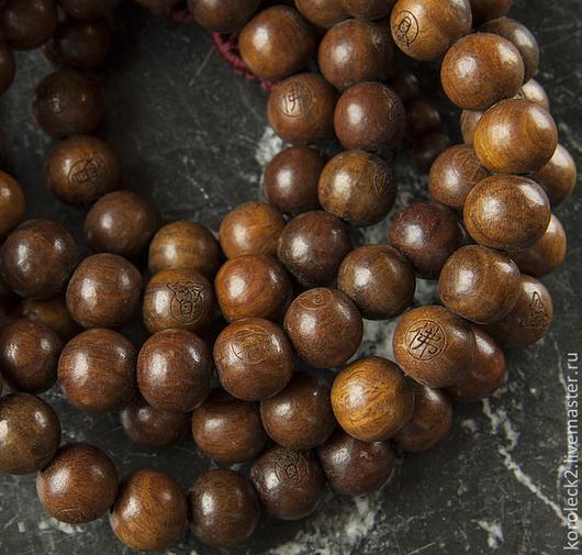 Для украшений ручной работы. Ярмарка Мастеров - ручная работа. Купить Тибетские бусины из зеленого сандалового дерева 15 мм. Handmade.