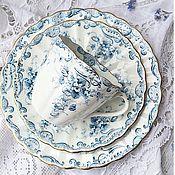 Винтаж ручной работы. Ярмарка Мастеров - ручная работа Антикварное чайно-кофейное трио pre-Tuscan. Handmade.