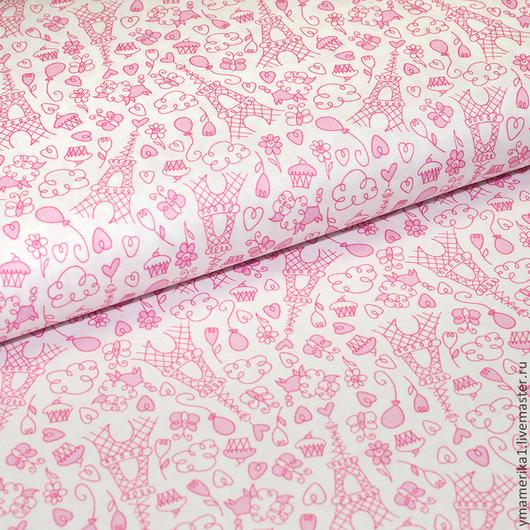 Шитье ручной работы. Ярмарка Мастеров - ручная работа. Купить 0,85 Американский хлопок  ПАРИЖ мелкий рисунок розовый. Handmade.