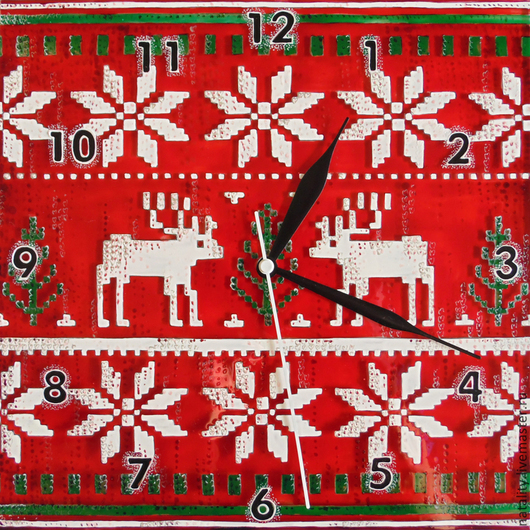 """Часы для дома ручной работы. Ярмарка Мастеров - ручная работа. Купить Часы """"Бабушкин свитер)"""". Handmade. Ярко-красный"""