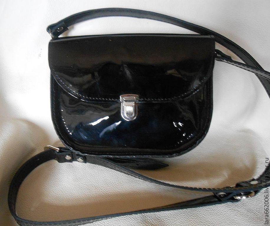 e9d023153dd9 Маленькая женская сумочка `Черныш` из натуральной лаковой черной кожи,  кожаная сумка, ...