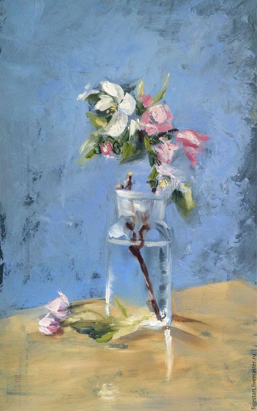 Картина маслом Яблоневый цвет Холст Масло Картина в подарок