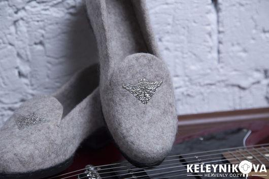 Обувь ручной работы. Ярмарка Мастеров - ручная работа. Купить Валяные туфли мокасины. Handmade. Бежевый, демисезонная обувь, тиффани