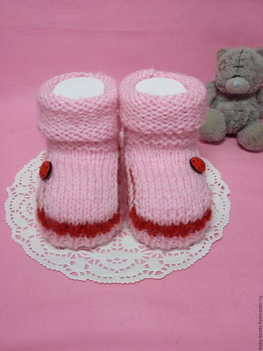"""Детская обувь ручной работы. Ярмарка Мастеров - ручная работа. Купить Пинетки """"Божья коровка"""". Handmade. Розовый, пинетки для девочки"""