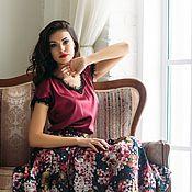 Одежда ручной работы. Ярмарка Мастеров - ручная работа Блуза-топ Бордо из натурального итальянского шелка. Handmade.