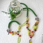 """Украшения handmade. Livemaster - original item Колье и браслет """"Весна"""". Украшение зелёное, Комплект. Handmade."""