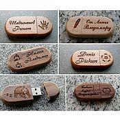 handmade. Livemaster - original item Wooden flash drive with engraving, gift made of wood, souvenir. Handmade.