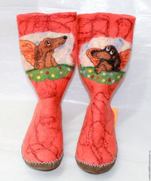 """Носки, Чулки ручной работы. Ярмарка Мастеров - ручная работа. Купить Авторские валяные носки - джурабы"""" В собачьем Раю"""". Handmade."""