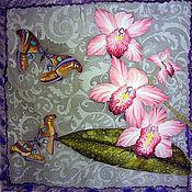 """Аксессуары ручной работы. Ярмарка Мастеров - ручная работа Платок батик шелковый """"Орхидеи"""". Handmade."""