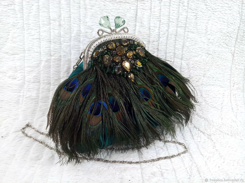 Вечерняя сумочка с перьями павлина и вышивкой стразами, Классическая сумка, Бологое,  Фото №1