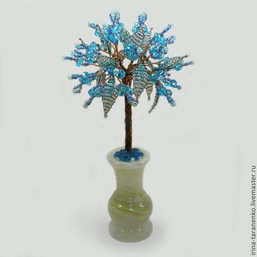 Дерево из топаза `Семейное счастье` в вазочке из оникса