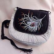 Сумки и аксессуары handmade. Livemaster - original item Handbag FEATHER agate, beads, satin, linen. Handmade.