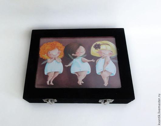 Шкатулка для колец с феечками-кокетками от чудесного иллюстратора Elina Ellis.  Магазин волшебных феечек. FairyKalinka