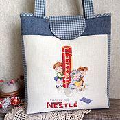 handmade. Livemaster - original item Textile handbag hand cross stitch Chocolate. Handmade.