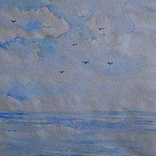 """Картины и панно ручной работы. Ярмарка Мастеров - ручная работа Картинка на рисовой бумаге акварелью  """"В далекий путь"""". Handmade."""