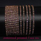 handmade. Livemaster - original item Rhinestone chain dense SS12 3 mm Antique pink in gold. DAC 10 cm. Handmade.