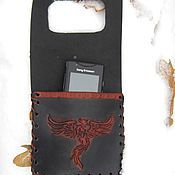 Сумки и аксессуары handmade. Livemaster - original item Leather case pouch pocket for phone to charge the Phoenix. Handmade.