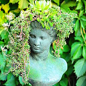 Дача и сад handmade. Livemaster - original item Antique sculpture aged Bust of a Girl with a planters in her head. Handmade.