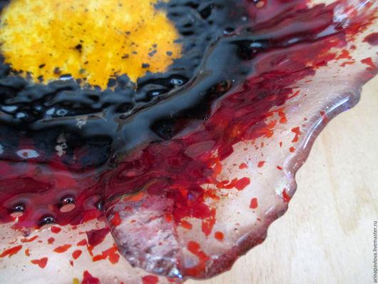 Декоративная посуда ручной работы. Ярмарка Мастеров - ручная работа. Купить Стеклянное блюдо Мак. Декоративное стекло. Фьюзинг. Handmade.