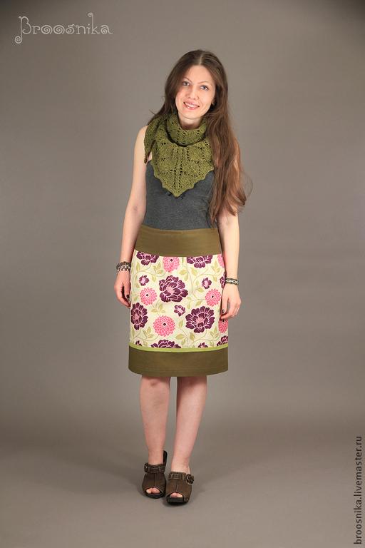 Юбки ручной работы. Ярмарка Мастеров - ручная работа. Купить юбка В ЦВЕТОЧЕК. Handmade. Хаки