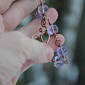 Украшения handmade. Livemaster - original item Amethyst bracelet, copper jewelry, bracelet as a gift on March 8. Handmade.