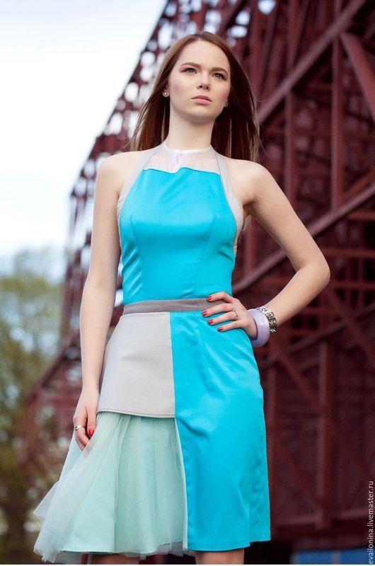 Платья ручной работы. Ярмарка Мастеров - ручная работа. Купить Платье ассиметричное. Handmade. Бирюзовый, город, хлопок с эластаном