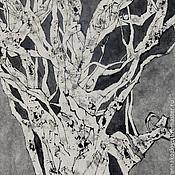 Картины и панно ручной работы. Ярмарка Мастеров - ручная работа картина про дерево3(китайская живопись суми-э современный интерьер). Handmade.