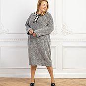 Одежда handmade. Livemaster - original item Herringbone viscose Polo dress plus size. Handmade.