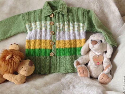 Одежда для мальчиков, ручной работы. Ярмарка Мастеров - ручная работа. Купить Джемпер для мальчика ручной вязки. Handmade. Салатовый