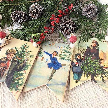 Гирлянда новогодняя советские открытки 50-60 е 8