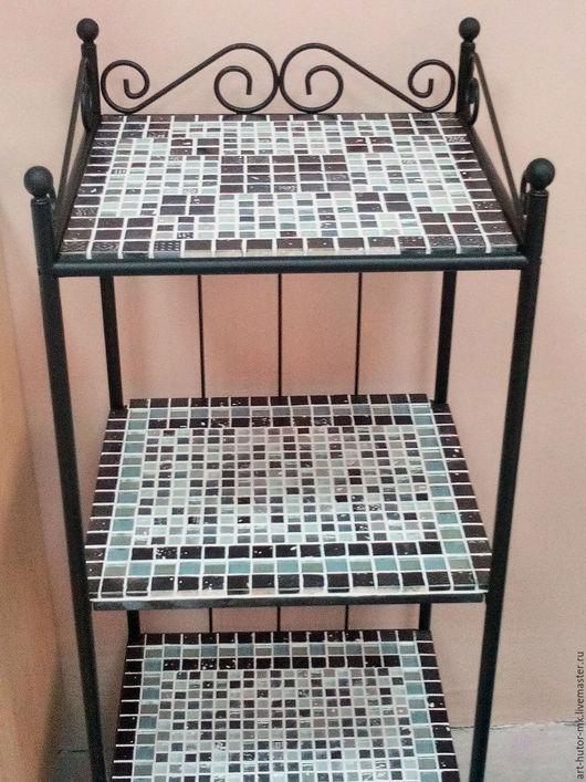 Этажерка с мозаикой, мозаичная этажерка для прихожей, этажерка с мозаикой для коридора, мозаичная этажерка для ванной